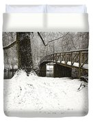 Bridge At Old Mine Park Duvet Cover
