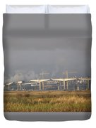 Bridge Building Duvet Cover by Bill Gallagher