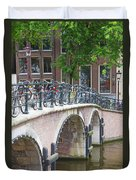 Bridge Over Canal With Bicycles  In Amsterdam Duvet Cover