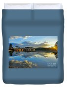 Bridge Over Lake At Sunset Narrabeen Lakes Sydney Duvet Cover