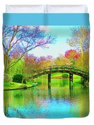 Bridge Over Lake In Spring Duvet Cover
