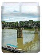 Bridge Over River Kwai In Kanchanaburi-thailand Duvet Cover