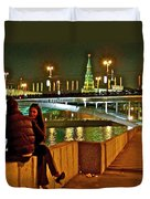 Bridge Over River Near The Kremlin At Night In Moscow-russia Duvet Cover