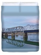 Bridge Over Tranquil Waters In Kamloops British Columbia Duvet Cover