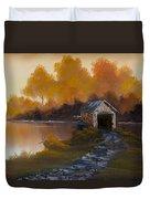 Covered Bridge In Fall Duvet Cover