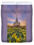 Brigham City Temple Vertical Panorama Duvet Cover