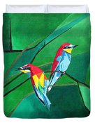 Brighly Colored European Bee-eaters Duvet Cover