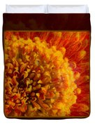 Bright Budding And Golden Abstract Flower Painting Duvet Cover