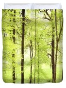 Bright Green Forest In Spring With Beautiful Soft Light  Duvet Cover