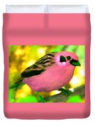 Bright Pink Finch Duvet Cover