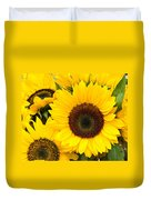 Bright Sunflower Blossoms Duvet Cover