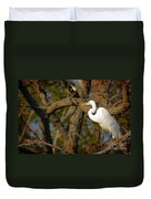 Bright White Heron Duvet Cover