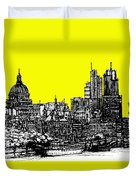 Dark Ink With Bright Yellow London Skies Duvet Cover