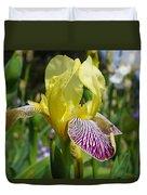 Bright Yellow Purple Iris Flower Irises Duvet Cover