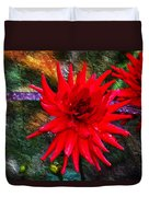 Brilliance In An Autumn Garden - Red Dahlia Duvet Cover