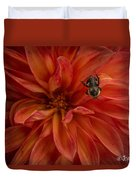 Brilliant Red Dahlia Duvet Cover
