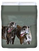 Brindle Greyhound Dogs Usa Duvet Cover
