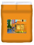 Bring Your Own Wine Restaurant Vents Du Sud Rue Roy Corner French Cafe Street Scene Carole Spandau Duvet Cover