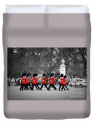 British Royal Guards March And Perform The Changing Of The Guard In Buckingham Palace Duvet Cover