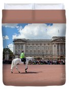 British Royal Guards Riding On Horse And Perform The Changing Of The Guard In Buckingham Palace Duvet Cover