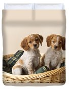 Brittany Dog Puppies In Basket Duvet Cover