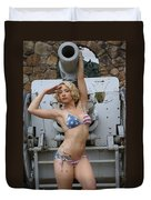 Brittany Usa Flag Bikini With Cannon Duvet Cover
