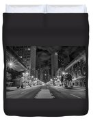 Broad Street At Night In Black And White Duvet Cover