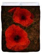 Brocade Textured Poppies Duvet Cover