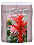 Bromeliad Red Pink Brick Duvet Cover