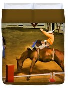 Bronc Bucking Out The Gate Duvet Cover