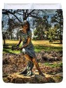 Bronze Girl At Woodward Park Duvet Cover