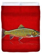 Brook Trout On Red Leather Duvet Cover
