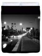 Brooklyn Bridge And Manhattan Skyline At Dusk 1980s Duvet Cover
