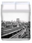 Brooklyn Bridge And Terminal - 1903 Duvet Cover