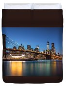 Brooklyn Bridge At Dusk Duvet Cover