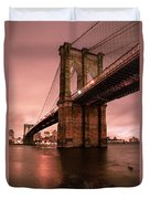Brooklyn Bridge - Red Morning Duvet Cover by Gary Heller