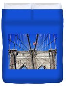 Brooklyn Bridge With American Flag Duvet Cover