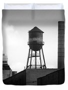 Brooklyn Water Tower And Smokestack - Black And White Industrial Chic Duvet Cover by Gary Heller