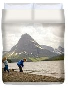 Brother And Sister Playing Near A Lake Duvet Cover