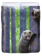 Brown Bear Climbing Lesson Duvet Cover
