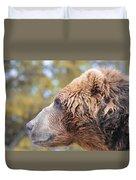Brown Bear Portrait In Autumn Duvet Cover