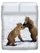 Brown Bear Ursus Arctos Cubs Play Duvet Cover
