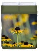 Brown Eyed Susans On Yellow And Green Duvet Cover