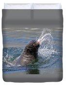 Brown Fur Seal Throwing A Fish Head Duvet Cover