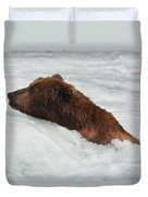 Brown Grizzly Bear Swimming  Duvet Cover