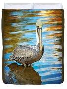 Brown Pelican Along The Bayou Duvet Cover