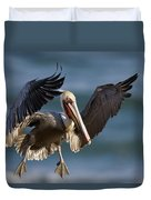 Brown Pelican Flying California Duvet Cover