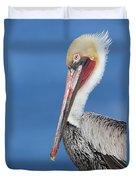 Brown Pelican Head Shot Duvet Cover