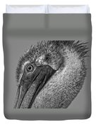 Brown Pelican In Black And White Duvet Cover