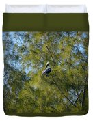 Brown Pelican In The Trees Duvet Cover